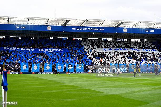 Leicester City fans welocme their team prior to the Barclays Premier League match between Leicester City and Swansea City at The King Power Stadium...