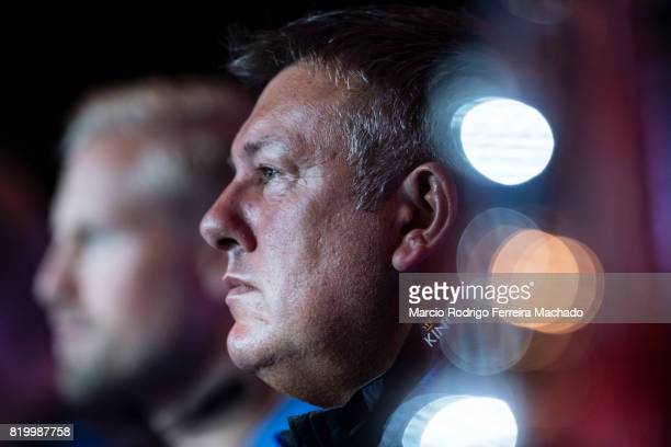 Leicester City FC head coach Craig Shakespeare talks during a Premier League Asia Trophy Press Conference at Grand Hyatt Hotel on July 21, 2017 in...