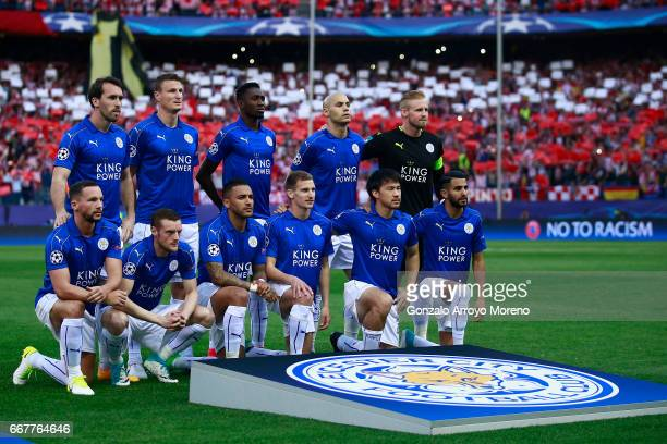 Leicester City FC line up prior to start the UEFA Champions League Quarter Final first leg match between Club Atletico de Madrid and Leicester City...