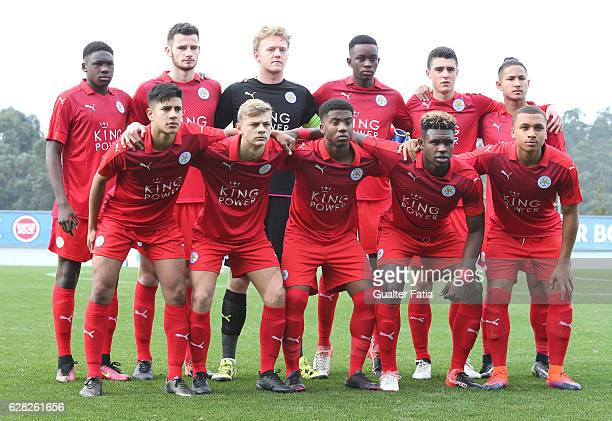 Leicester City FC's players pose for a team photo before the start of the UEFA Youth Champions League match between FC Porto and Leicester City FC at...