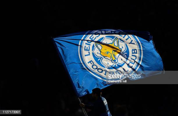 Leicester City flag ahead the Premier League match between Leicester City and Manchester United at The King Power Stadium on February 03, 2019 in...