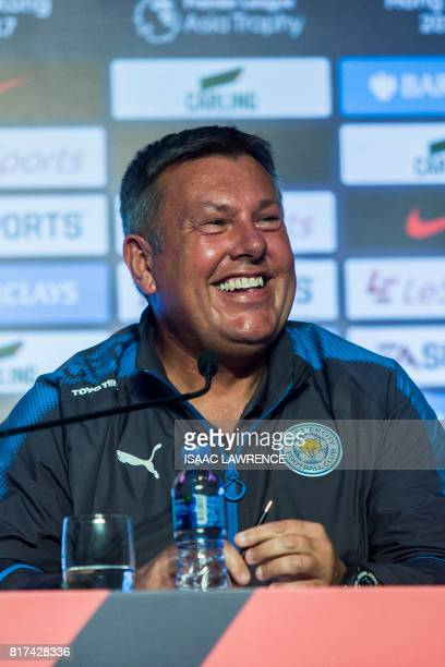 Leicester City Football Club manager Craig Shakespeare reacts at a press conference in Hong Kong on July 18 ahead of the 2017 Premier League Asia...