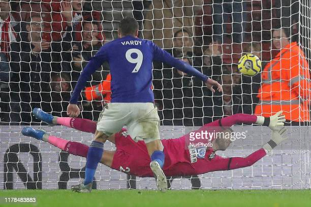 Leicester City forward Jamie Vardy makes it 9 from the penalty spot during the Premier League match between Southampton and Leicester City at St...