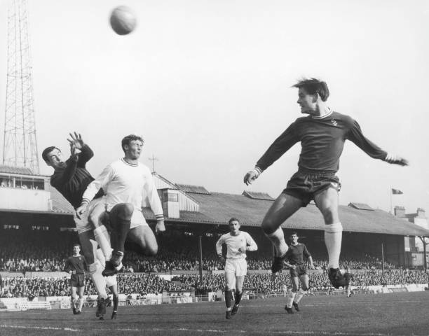 Leicester City goalkeeper Gordon Banks and left-back Norman attempt to save a header from McCalligg of Chelsea during a match at at Stamford Bridge,...