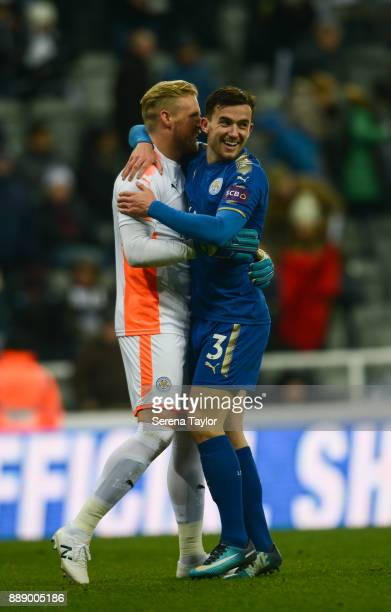 Leicester City Goalkeeper Kasper Schmeichel and Ben Chilwell of Leciester City celebrate as they win the Premier League match between Newcastle...