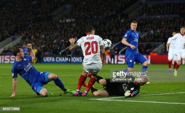 Leicester City goalkeeper Kasper Schmeichel fouls Vitolo of Sevilla leading to a penalty during the UEFA Champions League Round of 16 second leg...