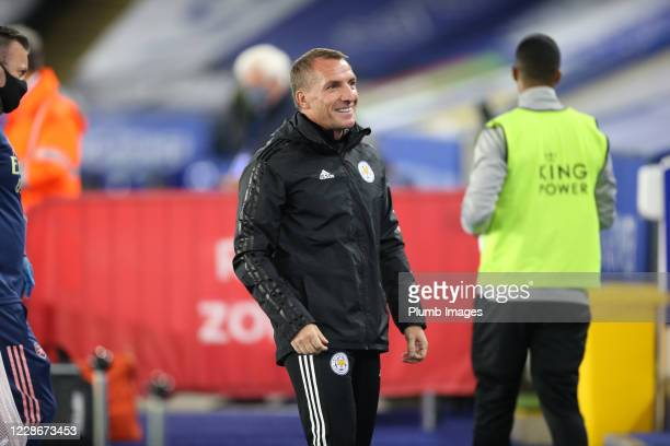 Leicester City Manager Brendan Rodgers ahead of the Carabao Cup Third Round tie between Leicester City and Arsenal at The King Power Stadium on...