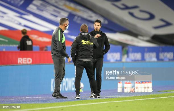 Leicester City Manager Brendan Rodgers and Arsenal Manager Mikel Arteta after the Carabao Cup Third Round tie between Leicester City and Arsenal at...