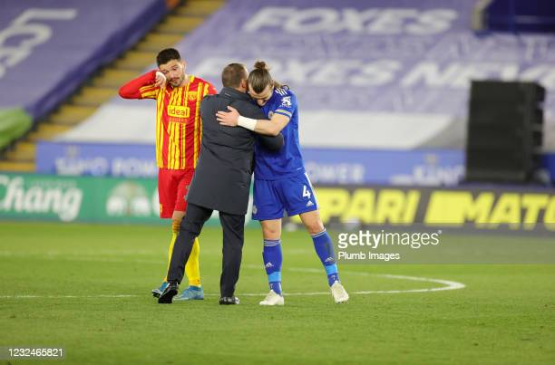 Leicester City Manager Brendan Rodgers and Caglar Soyuncu of Leicester City celebrate after the Premier League match between Leicester City and West...