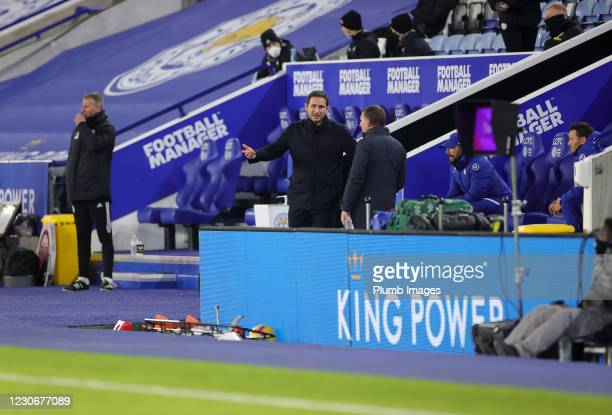 Leicester City Manager Brendan Rodgers and Chelsea Manager Frank Lampard ahead of the Premier League match between Leicester City and Chelsea at The...