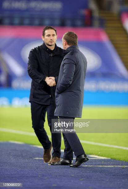 Leicester City Manager Brendan Rodgers and Chelsea Manager Frank Lampard shake hands after the Premier League match between Leicester City and...