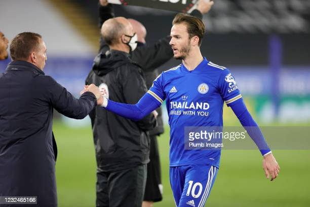 Leicester City Manager Brendan Rodgers and James Maddison of Leicester City during the Premier League match between Leicester City and West Bromwich...