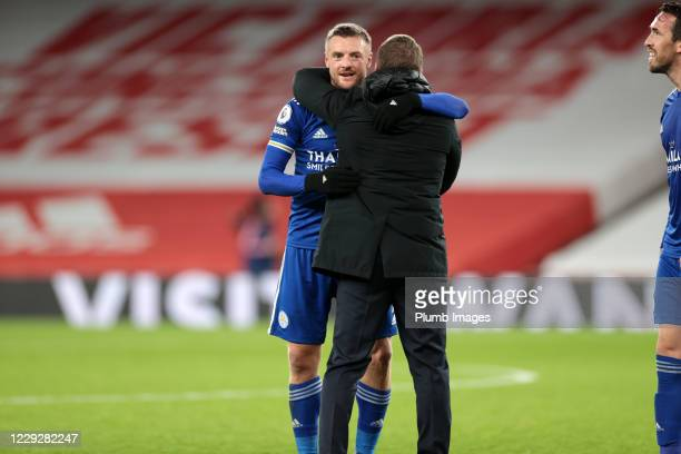 Leicester City Manager Brendan Rodgers and Jamie Vardy of Leicester City celebrate after the Premier League match between Arsenal and Leicester City...