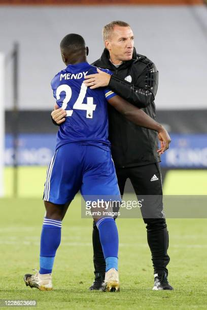 Leicester City Manager Brendan Rodgers and Nampalys Mendy of Leicester City celebrate after the Premier League match between Leicester City and...