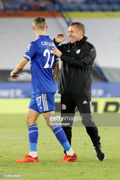 Leicester City Manager Brendan Rodgers and Timothy Castagne of Leicester City celebrate after the Premier League match between Leicester City and...