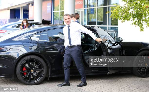 Leicester City Manager Brendan Rodgers arrives ahead of the Premier League match between Leicester City and Manchester United at The King Power...