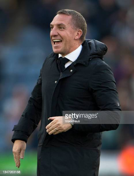 Leicester City manager Brendan Rodgers celebrates after the Premier League match between Leicester City and Manchester United at The King Power...