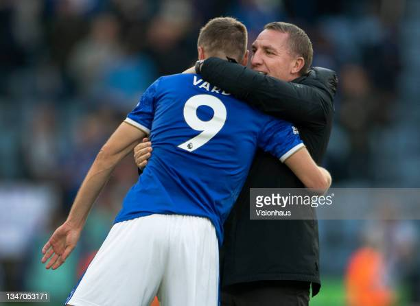 Leicester City manager Brendan Rodgers celebrates with Jamie Vardy after the Premier League match between Leicester City and Manchester United at The...