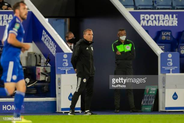 Leicester City Manager Brendan Rodgers during the Carabao Cup match between Leicester City and Arsenal at the King Power Stadium Leicester England on...