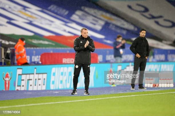 Leicester City Manager Brendan Rodgers during the Carabao Cup Third Round tie between Leicester City and Arsenal at The King Power Stadium on...