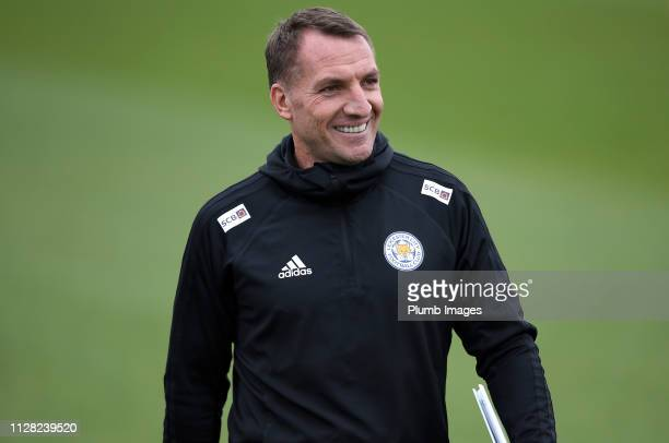 Leicester City Manager Brendan Rodgers during the Leicester City training session at Belvoir Drive Training Complex on March 01 2019 in Leicester...