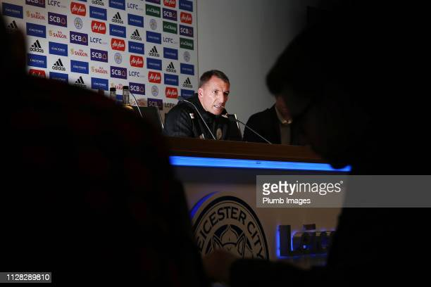 Leicester City Manager Brendan Rodgers during the Leicester City press conference at King Power Stadium on March 01 2019 in Leicester United Kingdom