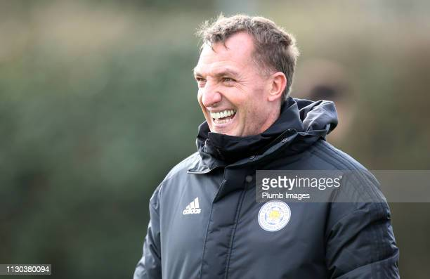 Leicester City Manager Brendan Rodgers during the Leicester City training session at Belvoir Drive Training Complex on March 14, 2019 in Leicester,...