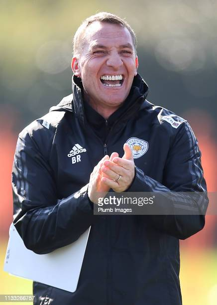 Leicester City Manager Brendan Rodgers during the Leicester City training session at Belvoir Drive Training Complex on March 28, 2019 in Leicester,...