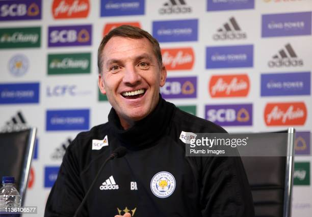 Leicester City Manager Brendan Rodgers during the Leicester City press conference at King Power Stadium on April 10 2019 in Leicester United Kingdom