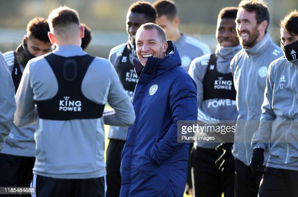 Leicester City Manager Brendan Rodgers during the Leicester City training session at Belvoir Drive Training Complex on November 29 2019 in Leicester...
