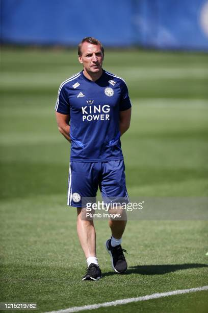 Leicester City Manager Brendan Rodgers during the Leicester City training session at Belvoir Drive Training Complex on May 26th, 2020 in Leicester,...