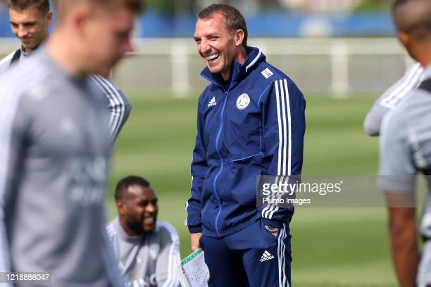 Leicester City Manager Brendan Rodgers during the Leicester City training session at Belvoir Drive Training Complex on June 09th, 2020 in Leicester,...