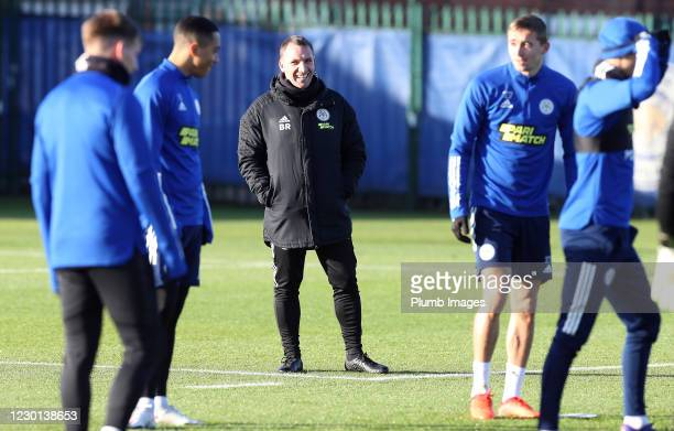 Leicester City Manager Brendan Rodgers during the Leicester City training session at Belvoir Drive Training Complex on December 15th, 2020 in...