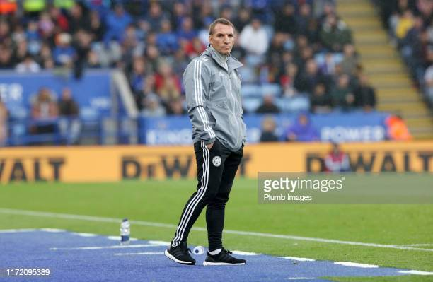 Leicester City Manager Brendan Rodgers during the Premier League match between Leicester City and Newcastle United at King Power Stadium on September...