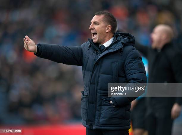 Leicester City manager Brendan Rodgers during the Premier League match between Burnley FC and Leicester City at Turf Moor on January 19, 2020 in...