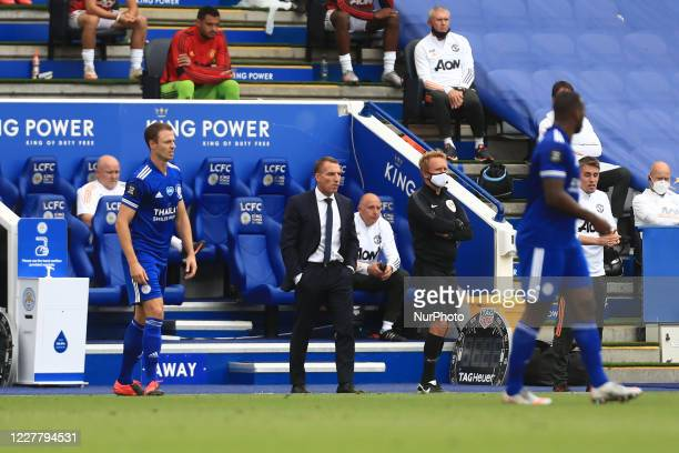 Leicester City Manager Brendan Rodgers during the Premier League match between Leicester City and Manchester United at the King Power Stadium,...