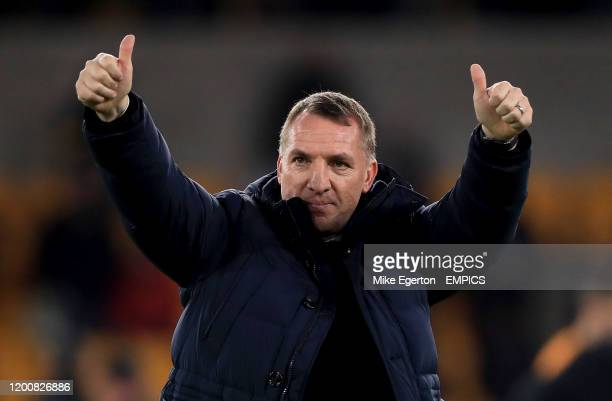 Leicester City manager Brendan Rodgers gives the thumbs up after the final whistle Wolverhampton Wanderers v Leicester City - Premier League -...