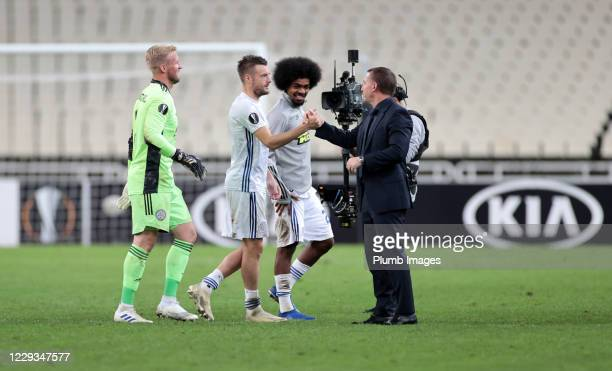 Leicester City Manager Brendan Rodgers Jamie Vardy of Leicester City Kasper Schmeichel of Leicester City and Hamza Choudhury of Leicester City...