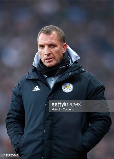 Leicester City manager Brendan Rodgers looks on during the Premier League match between Aston Villa and Leicester City at Villa Park on December 08...