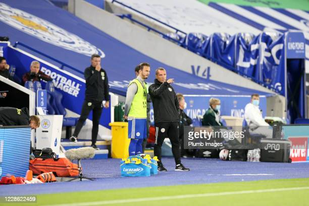Leicester City Manager Brendan Rodgers prepares to bring on James Maddison of Leicester City during the Premier League match between Leicester City...