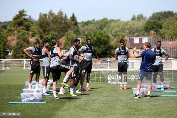 Leicester City Manager Brendan Rodgers talks to a group during the Leicester City training session at Belvoir Drive Training Complex on May 29, 2020...