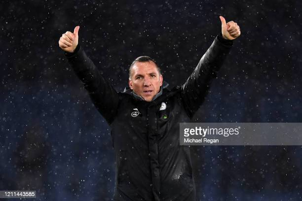 Leicester City Manager, Brendan Rodgers thanks the fans after victory in the Premier League match between Leicester City and Aston Villa at The King...