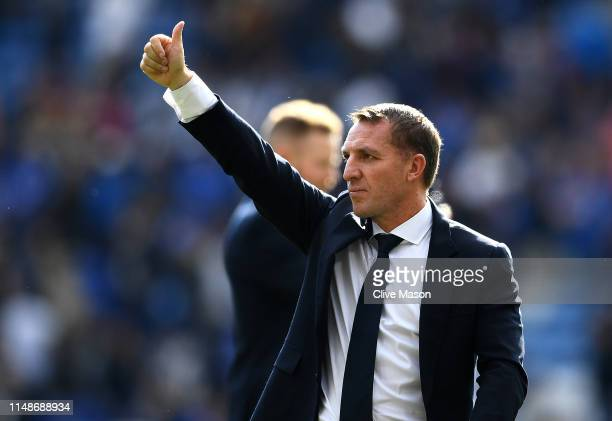 Leicester City manager Brendan Rodgers walks around the pitch during the lap of appreciation after the Premier League match between Leicester City...