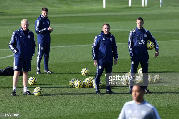 Leicester City Manager Brendan Rodgers with Adam Sadler Leicester City first team coach and Chris Davies assistant manager during the Leicester City...