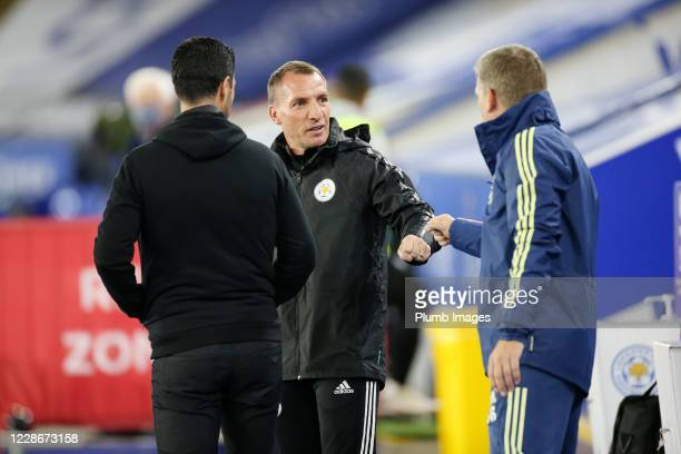 Leicester City Manager Brendan Rodgers with Arsenal Manager Mikel Arteta ahead of the Carabao Cup Third Round tie between Leicester City and Arsenal...