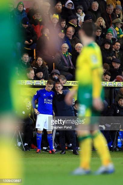 Leicester City Manager Brendan Rogers during the Premier League match between Norwich City and Leicester City at Carrow Road on February 28 2020 in...