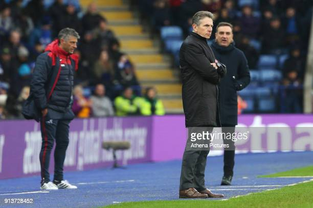 Leicester City manager Claude Puel and Swansea City manager Carlos Carvalhal during the Premier League match between Leicester City and Swansea City...