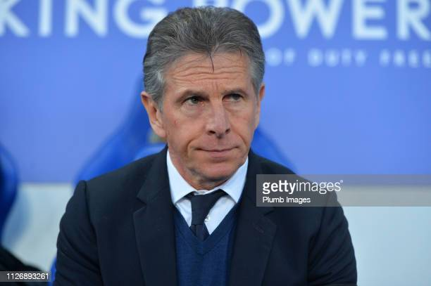 Leicester City Manager Claude Puel during the Premier League match between Leicester City and Crystal Palace at The King Power Stadium on February...