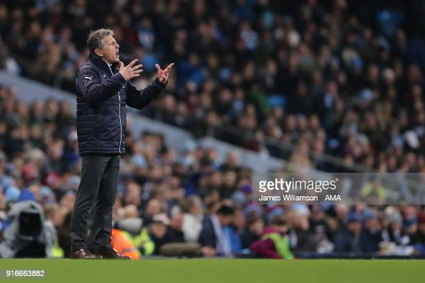 Leicester City manager Claude Puel during the Premier League match between Manchester City and Leicester City at Etihad Stadium on February 10 2018...