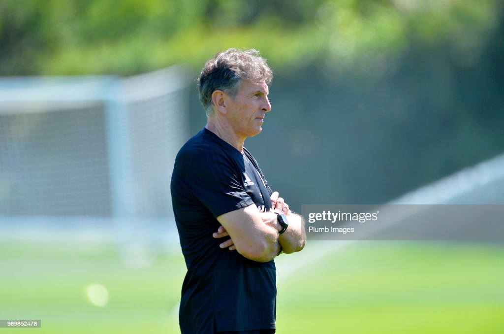 Leicester City manager Claude Puel during training as Leicester City Players Return to Pre-Season Training at Belvoir Drive Training Complex on July 02 , 2018 in Leicester, United Kingdom.